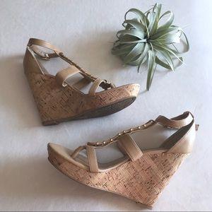 Dolce Vita nude gold cork wedge strappy sandal 8.5